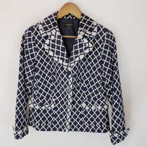 Talbots Petites 10P Nvy/Wht Cotton Crop Blazer